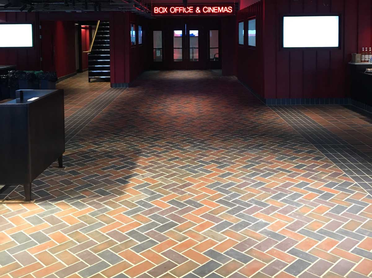 A mixed blend of quarry tiles at London BFI on the Southbank