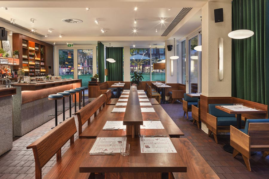 Arabica Restaurant designed by Gundry & Ducker features Ketley Brown Brindle quarry tiles