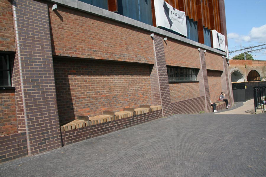 Brown brindle bricks and Staffordshire blue diamond chequer pavers at Camdens new Hawley Wharf