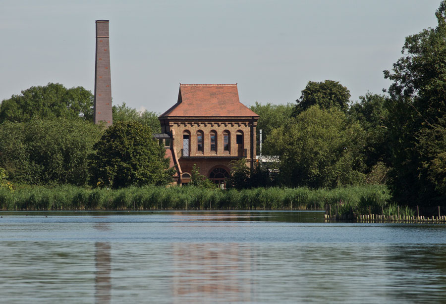 Engine House in Landscape at Walthamstow Wetlands
