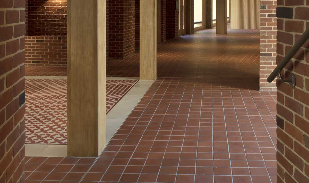 Ketley square red quarry tiles at the new West Court at Jesus College Cambridge