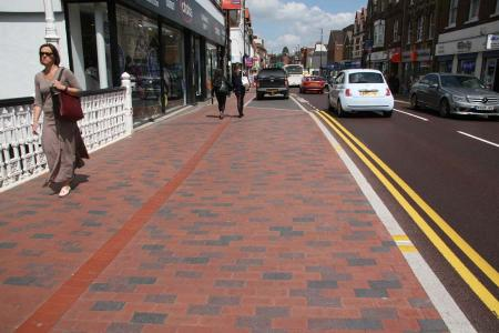 Tonbridge High Street a mix of red brown brindle and staffordshire blue pavers