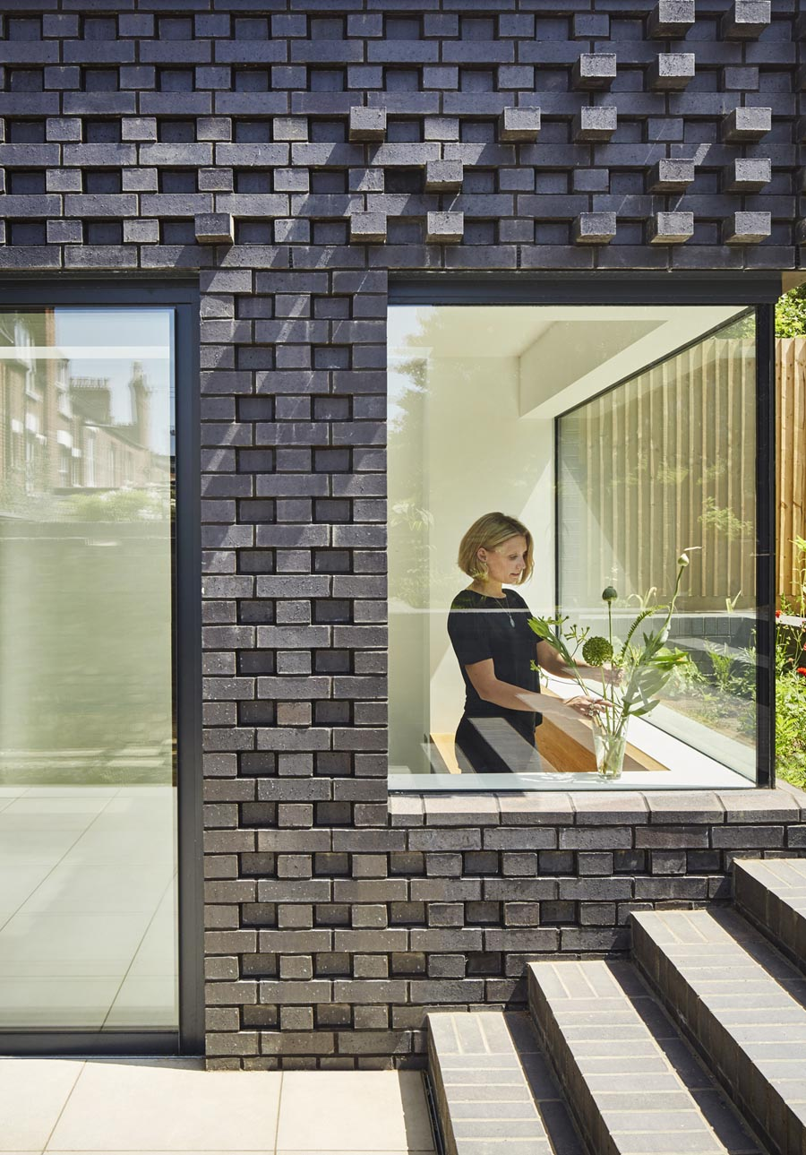 Textured brickwork on a residential extension